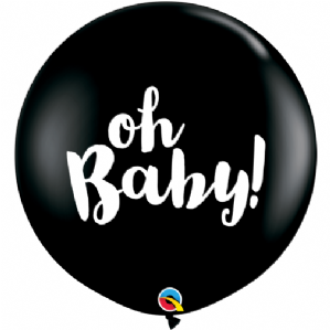 Gender Reveal Balloons | 3ft Oh Baby Black Balloon | Free Delivery available